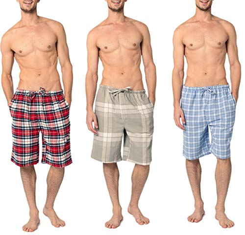 Andrew Scott Men's 3 Pack Light Weight Cotton Flannel Soft Fleece Brush Woven Pajama/Lounge Sleep Shorts (3 Pack - Assorted Classics Plaids, Large)