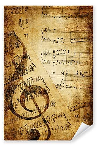 Postereck - Poster 0128 - Vintage Notenblatt Notenschluessel Musik Retro Noten - Größe 3:2 - 30.0 cm x 20.0 cm