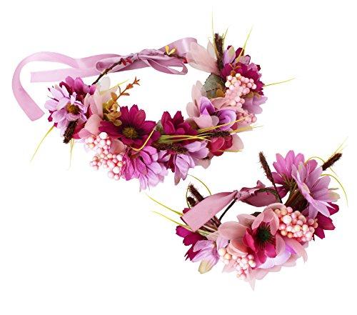 Floral Crown Headband Flower Garland Headband Hair Wreath Hair Garland Flower Halo Floral Headpiece Boho with Wristband Wedding Party Festival Purple by Brikuinr