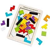 Afufu Puzzle de Madera Montessori Juguetes Educativos (40 Piezas) Tangram Rompecabezas Juego, Jigsaw Puzzle del Juguete para Niños 3 4 5 6 Años Rompecabezas De Madera