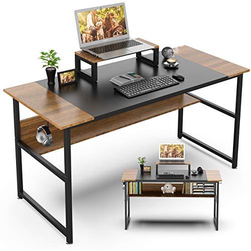 GIKPAL Schreibtisch aus Stahl & Holz, Computertisch Bürotisch mit Computerständer, Officetisch Arbeitstisch für Arbeit/Gaming/Homeoffice, modern & einfach