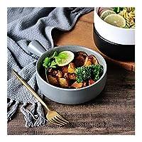 Salad bowl ceramic スープコンテナ香りのインスタントラーメンサラダボウルの北欧の創造的な黒と白のセラミックボウル手作りボウル (Color : Grey, Size : 1313.9CM)