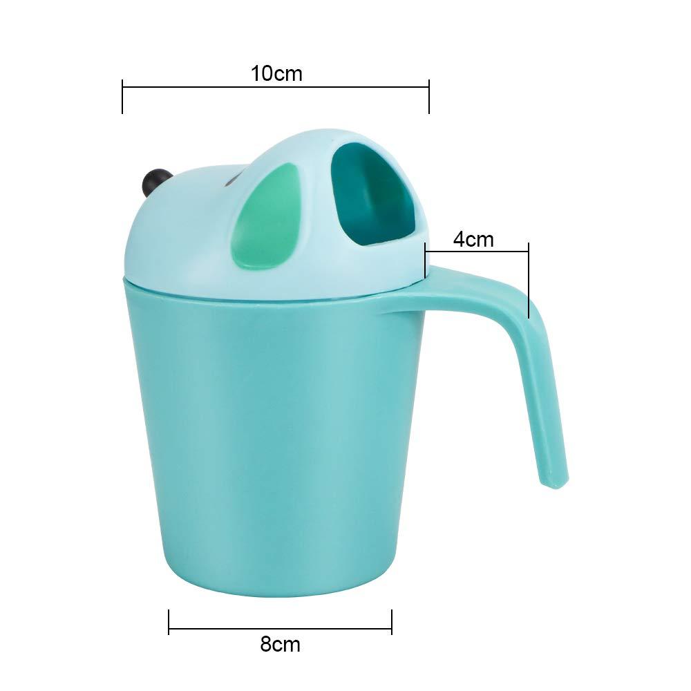 UNAOIWN Baby Bath Waterfall Rinser Kids Shampoo Rinse Cup Newborn Bath Shower Washing Head (Blue)