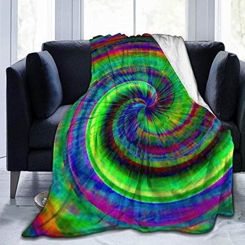PNNUO Fleece Blankets and Throws-Green Tie Dye Blanket,Warm & Soft Queen Blankets for Couch Bed Adults