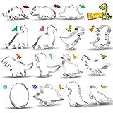 Yosemy Formine Biscotti Dinosauro, 15 Pezzi Stampibiscotti in Acciaio Inox Taglierine Tagliabiscotti Dinosauri Forme per Bambini Compleanno Festa Tema Party Decorazioni Giurassico per feste