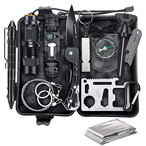 Survival Kit, EFFUN 12 in 1 Professional Survival Gear and Equipment, Gifts for Men Dad Boyfriend Him Husband Camping, Hiking, Hunting, Fishing, Emergency Camping Survival Kit