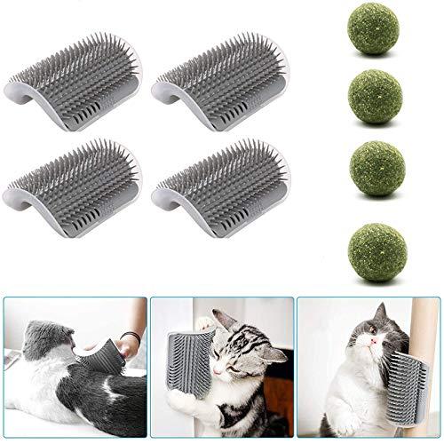 MingBin 4 PCS Katzen Bürste Cat Self Groomer mit Katzenminze Pet Massagekamm Katzenspielzeug Geeignet,mit Katzenminze Ball 4 Stück,Zur Katzenhaarentfernung und Juckreizmassage