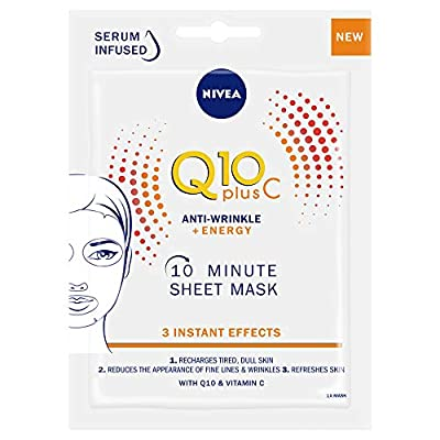 NIVEA Q10 + C Power Anti-Wrinkle + Energy Sheet Mask (1 Piece), Anti Ageing Moisturiser Mask with Vitamin C, Face Mask with Coenzyme Q10, Anti Wrinkle Cream Mask from Beiersdorf