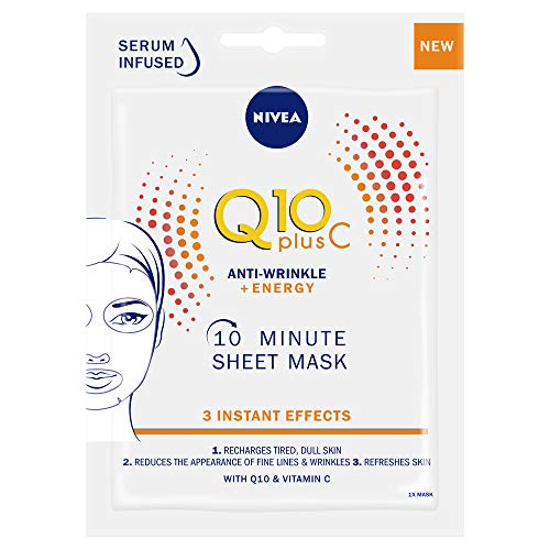 NIVEA Q10 + C Power Anti-Wrinkle + Energy Sheet Mask (1 Piece), Anti Ageing Moisturiser Mask with Vitamin C, Face Mask with Coenzyme Q10, Anti Wrinkle Cream Mask