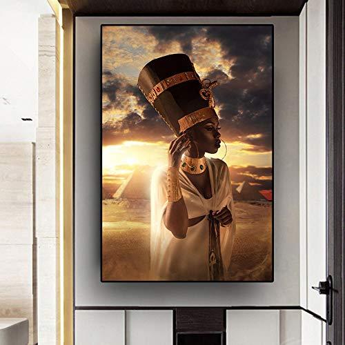 QWESFX Retrato de Tocado de Indio Nativo en Lienzo Pintura Niños Pintura Set Pintura por números Lienzo Impresiones del Arte Lona Estirada para Pintar (Imprimir sin Marco) A2 40x80CM