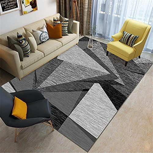 IRCATH Gris Oscuro Gris Gris triángulo geométrico patrón Suave Antideslizante Accesorios de hogar Sala de Estar Sala de Estar sofá alfombra-140x200cm Las alfombras Son aptas para Suelos radiantes