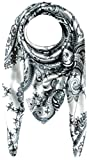LORENZO CANA Luxus Damen Seidentuch aufwändig bedrucktes Tuch schwarz weiss