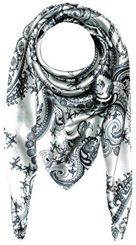 Lorenzo Cana Luxus Damen Seidentuch aufwändig bedrucktes Tuch schwarz weiss 100% Seide 100 cm x 100 cm Damentuch Schaltuch Geschenk Idee für Frauen 89005