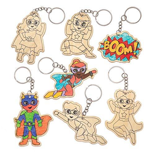 """Baker Ross Schlüsselanhänger-Bastelsets """"Superhelden"""" aus Holz (4 Stück) - Superheldenfiguren für Kinder zum Basteln und Befestigen an Schlüsselringen und Taschen"""