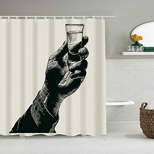 USOPHIA Personalisierter Duschvorhang,Logo Glas Hand halten Schuss Alkohol Trinken Toast Essen Vintage Whisky Tequila Bar Whisky Wodka,wasserabweisender Badvorhang für das Badezimmer 180 x 210cm