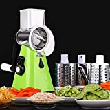 YU YUSING Manual Vegetable Slicer 3 in 1 Vegetable Fruit Cutter Cheese Shredder Rotary Drum Grater with 3 Stainless Steel Rotary Blades and Suction Cup Feet (Green)