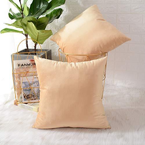 MERNETTE Pack of 2, Velvet Soft Decorative Square Throw Pillows Covers Cushion Cases Set Pillowcases For Sofa Bedroom Car Chair 18 X 18 Inches 45 x 45 Cm (Velvet Light Gold)