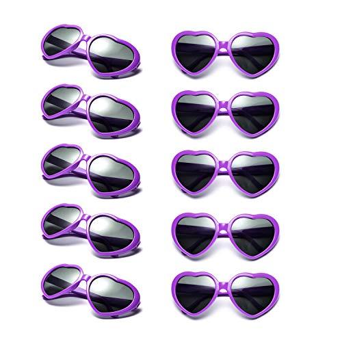 10 Packs Neon Colors Wholesale Heart Sunglasses (Purple)