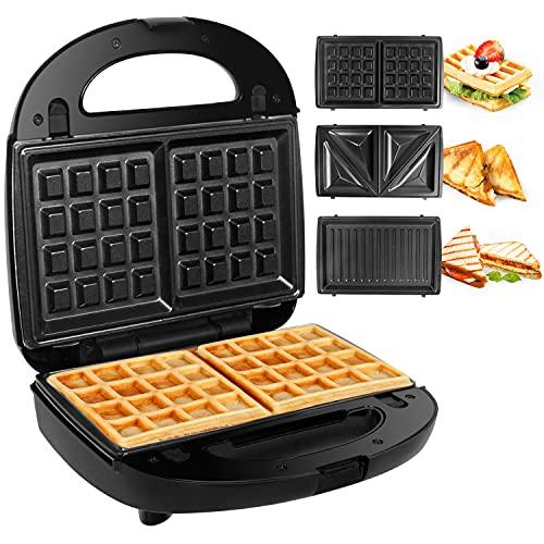 Gotoll Appareil à Croques Monsieur Gaufrier 3 en 1 Machine à Sandwich Maker Gauffre Presse Toaster...