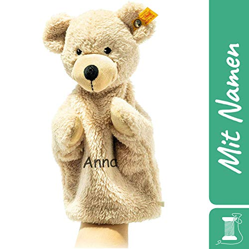 Steiff Fynn Handpuppe-Schnuffeltuch mit Namen Bestickt, Kasperlepuppe, Kasperletheater Puppe Geschenkidee Junge / Mädchen, 24 cm beige