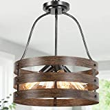 Farmhouse Chandelier for Dining Room, 4-Light Rustic Chandelier, Foyer Lighting for Entryway, 15.5'' Dia