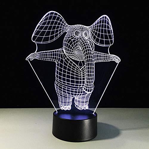 Lámpara De Ilusión 3D, Luz De Noche LED, Luz De Noche De Elefante, Lámpara De Mesa LED Acrílica, Dormitorio, Iluminación Para Dormir, Decoración De Regalos Para Niños