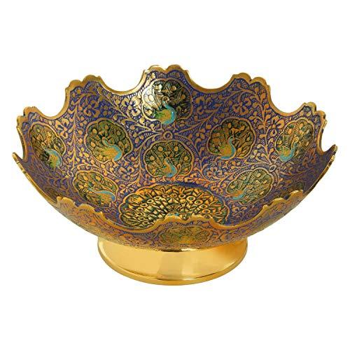 Zap Impex Cuenco decorativo de latón con diseño de pavo real