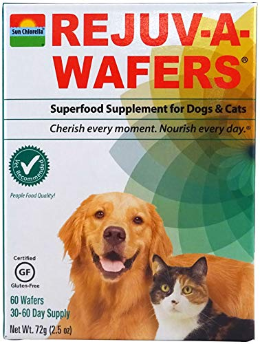 Sun Chlorella- Rejuv-A-Wafers- Chlorella & Eleuthero Superfood Supplement For Dogs And Cats (60 Wafers) (Rejuv-A-Wafers Single Wafers)