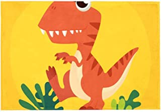 Area Rug Easy to Clean Stain Fade Resistant Shed Free,Orange T-Rex Background Print Foam Play Mat Living Room Floor Mats Baby Crawling Mats Climbing Pad Nursery Rug Carpet 60