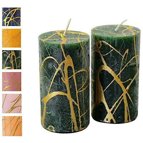 Adventskerzen m. goldenem Muster – 2 Stück - Rustikale Oberfläche - Kerzen/Stumpenkerzen - Weihnachten/Weihnachtskranz/Adventskranz (Jägergrün, Höhe: 11cm / ⌀ 6cm - 2 Stück)