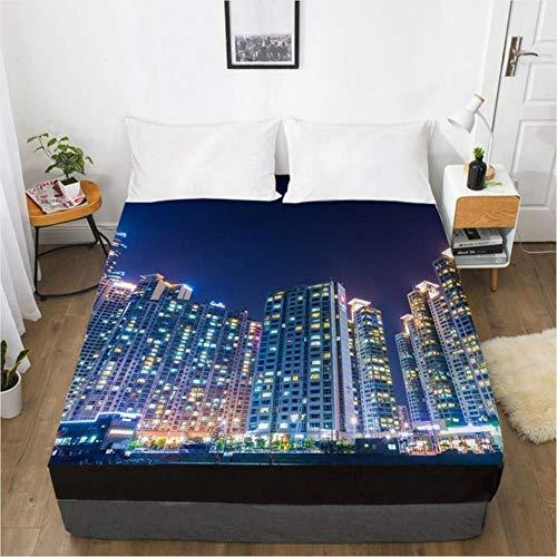 MMMWQ 3D HD Digital Printing Custom Bed Sheet with Elastic,Fitted Sheet 160x200CM 150x200 180x200,Bedding Mattress Cover City Night