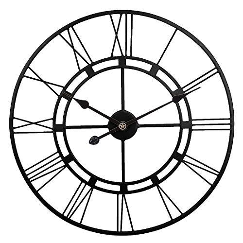 LVPY Wanduhr Vintage, Große Wohnzimmer XXL Antike Wanduhr 60cm Ø aus hochwertigem Metall Uhr Dekoration Wand für Küche Schlafzimmer - Schwarz
