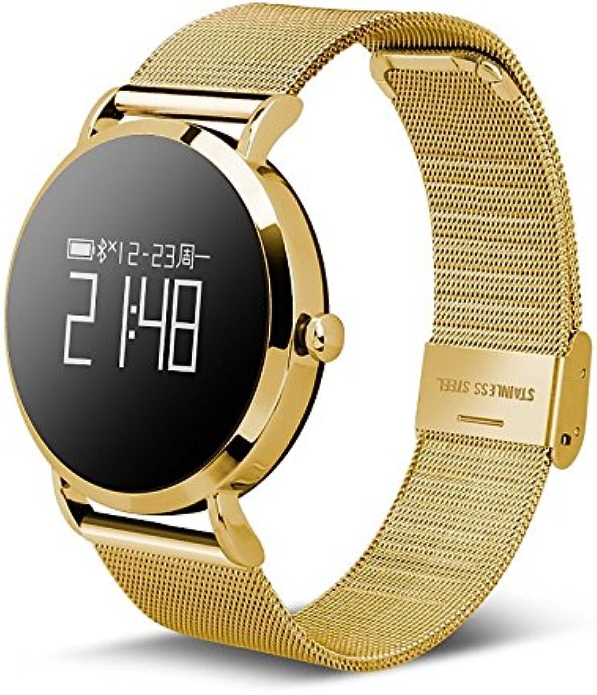 Lemumu CV08 Blautooth Smart Watch Sport Schrittzhler Herzfrequenzmesser Smartwatch für Android iPhone Smartphone, Gold