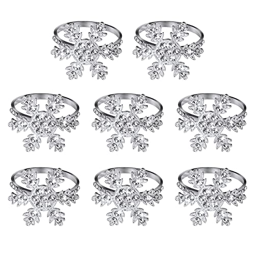 Christmas Napkin Rings, 8 Pieces Snowflake Napkin Holders Artificial...