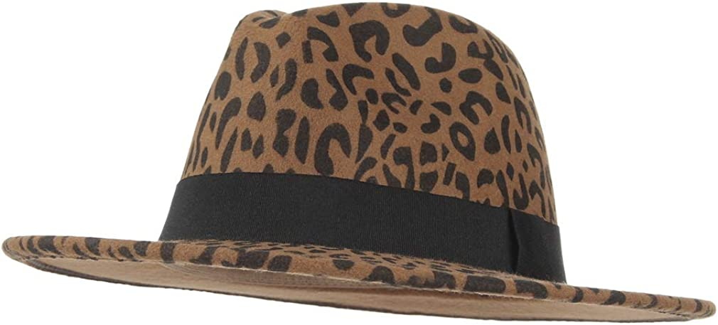 Jelord Women's Vintage Leopard Print Fedora Wool Hat Wide Brim Panama Trilby Wool Felt Hat with Band