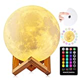 Moon Lamp, DTOETKD 16 Colors 3D Printing LED Moon Night Light with Stand, Remote & Touch Control Brightness USB Rechargeable, Luna Lamp for Baby Kids Friends Lover Birthday Gifts