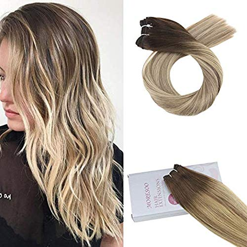 Moresoo Sew in Human Hair Bundles Balayage 14 Inch Hair Weft 100g Per Bundle Weave Hair Human Bundles Color 3 Brown to 8 Mixed with 22 Blonde Hair Wefts Human Hair Sew in