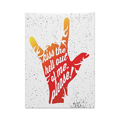 ABAKUHAUS Zitat Wandteppich und Tagesdecke, Rock'n Roll Symbol Punkte, aus Weiches Mikrofaser Stoff Moderner Digitaldruck Waschbar, 110 x 150 cm, Zinnoberrot Orange Schwarz