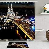 KISSENSU Badezimmer-Vorhang-Set,Köln Deutschland Urban Night Scene Schwarzer Dom Hohenzollern Brücke Rhein Brilliant City Light,Duschvorhang gedruckt Vorhang Badematte Fußmatte Wohnkultur Curtain