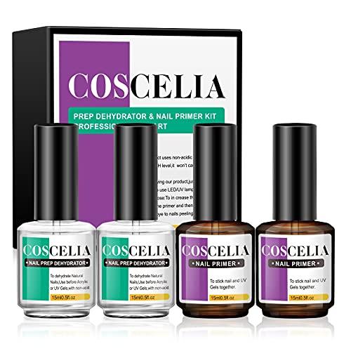 Nail Prep Dehydrator and Nail Primer Set, 4Pcs Professional Natural Acid-Free Primer and Nail Protein Bond,Fast Air-Dry Superior Bonding Agent for Acrylic and Gel Nail Polish Gift Box 15ML
