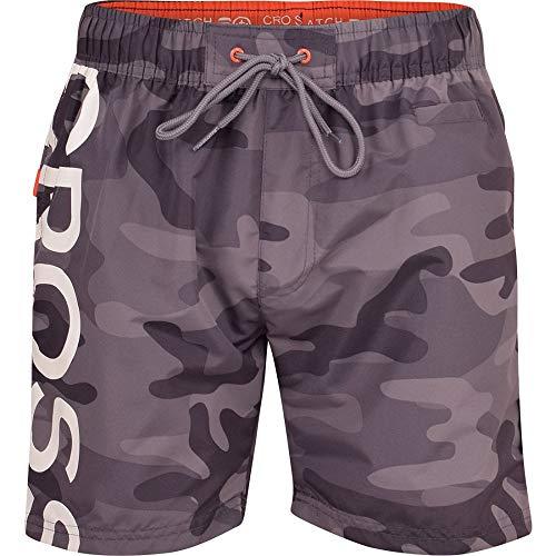 Crosshatch Herren-Badehose, Camouflage, mit Kordelzug, für den Strand, lässig, Netzfutter, schnell trocknend Gr. XL, grau camo