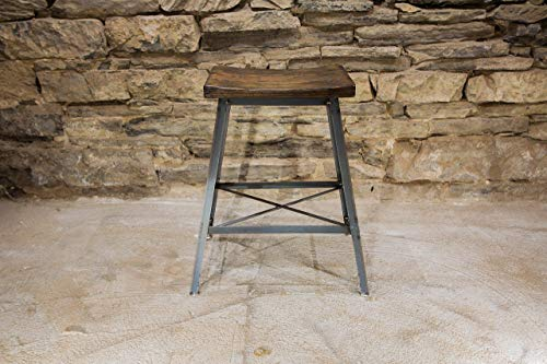 The Saddle Seat Bar Stool or Counter Stool from Reclaimed Wood and Industrial Base