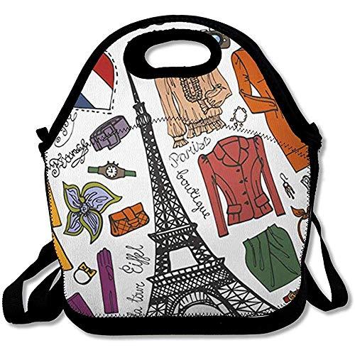 Tote Cooler Bag Jurk Herfst Parijs Eiffel Abstract Blouse Laarzen Gekleurde Doodle Ontwerp Seizoen Herbruikbare Geïsoleerde Lunch Tote