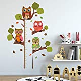 ufengke Owls Tree Height Chart Kids Wall Sticker Removable Wall Art Decals for Bedroom Nursery Playroom