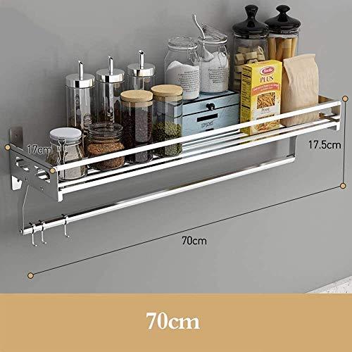 Cocina Microondas Rack de Almacenamiento en Rack de Acero Inoxidable Inicio Estante de la Cocina de Pared múltiple condimento Rack multifunción XMJ (Size : 70cm)