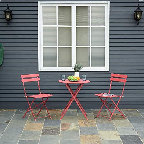 Outsunny Conjunto Muebles Plegables de Jardín de 3 Piezas Mesa y 2 Sillas de Metal para Balcón Terraza Exteriores Ø60x71 cm Rojo