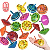Funmo - 18 Pièces Toupie en Bois, Petites Toupie Coloré, Mini Spinning Top en Bois Gyroscopes pour Jouet de Fête des Enfants (6 Couleur)