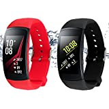 Rukoy Correas para Samsung Gear Fit 2 Band/Gear Fit 2 Pro [Paquete de 2: Negro + Rojo], Replacement Bands Accesorios para Samsung Gear Fit2 Pro SM-R365/Gear Fit2 SM-R360 Smartwatch (5.9'-7.5')