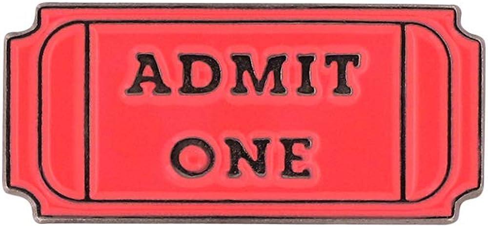 Forge Admit One Movie Ticket Black Nickel Plated Enamel Diestruck Lapel Pin– 1 Pin