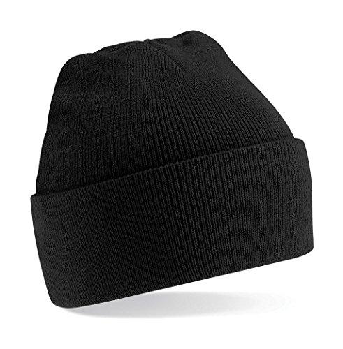 Beechfield, Acryl-Strickmütze für Erwachsene, zum Aufschlagen, Unisex Gr. Einheitsgröße, schwarz